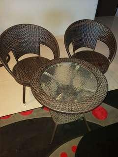 Weaved rattan chair and table set