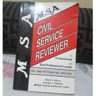 MSA Cvil Service Reviewer for Professional and Sub-Professionals (Free Shipping within MM!)