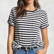 Instock! - BN F21 Dark Charcoal Grey Striped Ringer Contrast Basic Tee / Tshirt