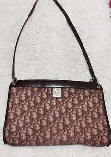 Authentic Christian Dior Trotter Brown Single Strap Shoulder Bag