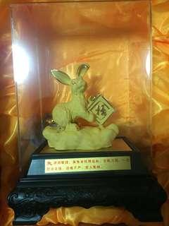 FengShui 12 Zodiac Rabbit Display with 24K Gold Plated