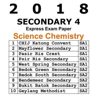 2018 Sec 4 Science Chem Exam Papers / Exam Paper / Top School Paper / Test Paper / Secondary 4 / Combined Science Chemistry / Test Paper / Prelim Paper
