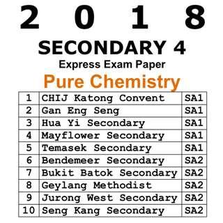 2018 Sec 4 Pure Chem Exam Papers / Exam Paper / Top School Paper / Test Paper / Secondary 4 / Pure Chemistry / Test Paper / Prelim Paper / 6092