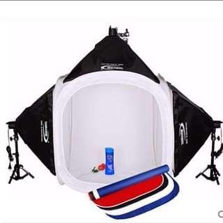 🚚 新品 80cm 柔光攝影棚+左右柔光燈箱+頂燈柔光+攝影燈  攝影器材套裝組 💡