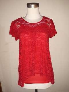 baju pakaian wanita cantik tengtop + luaran burkat merah