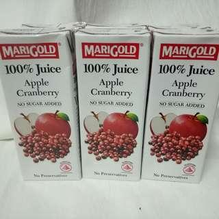MARIGOLD 100% APPLE CRANBERRY JUICE (6X 250mls)