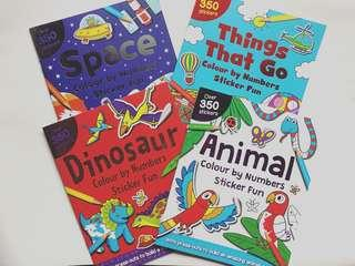 Activity book dinosaurs, animals, space, things that go