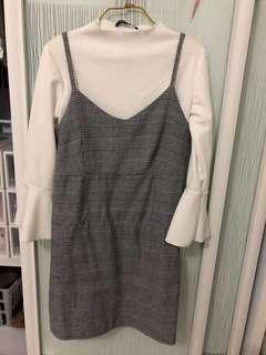 Set: grid checkered grey dress and white trumpet sleeve top