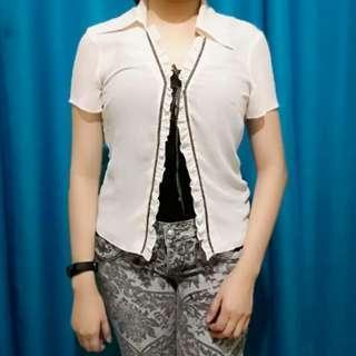 Chiffon Collared Outerwear