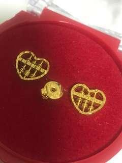 (NO NEGO) BN 916 Gold Abacus Heart Shape Earring