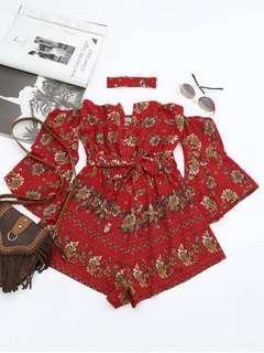 Red Floral Print Playsuit Romper Jumpsuit Off shoulder