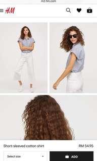 H&M short sleeved cotton shirt
