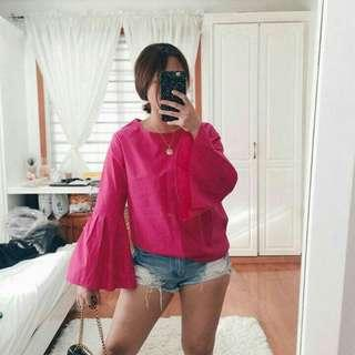 Oversized Bell Sleeves Pink Blouse