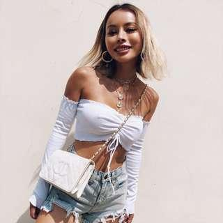 INSTOCKS cropped ruched front long sleeve off shoulder top - white