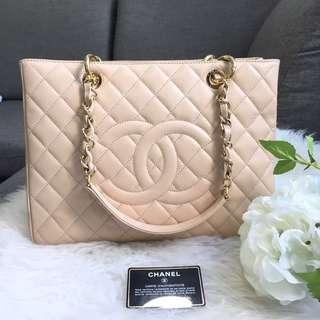 🌈Superb Deal!🌈 Very Good Condition Chanel Grand Shopping Tote (GST) In Beige Caviar and GHW