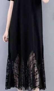 純黑蕾絲長裙。XL