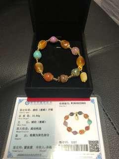 Amber and multi crystals bracelet 蜜蜡琥珀多宝手链