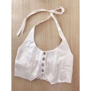 Cream silky halter top size XS