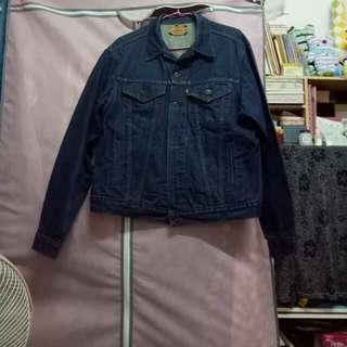 古著  美國製  Levi's 經典深藍色四口袋牛仔外套