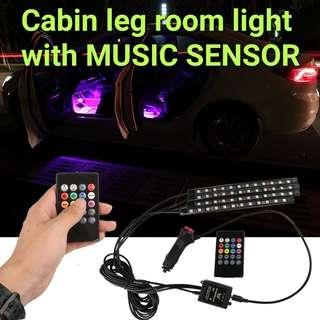 Leg room light multi-colour LED with music sensor
