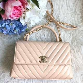 🌈Rare and Highly Popular!🌈 Chanel Coco Handle 29cm in Beige Distressed Calfskin Aged GHW