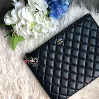 ❌SOLD!❌ Chanel Medium 28cm O-Case in Black Lambskin GHW