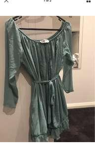 Sabo skirt Off Shoulder belted Dress Size S (fits 8-12)