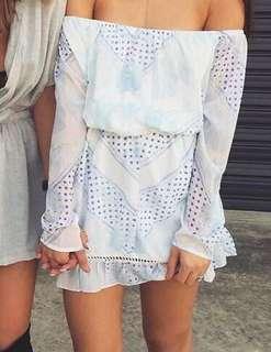 Sabo skirt Off Shoulder white & blue belted mini dress size XS