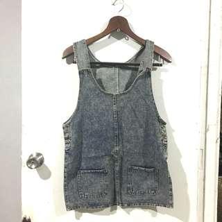 Dress 2 - Acid Washed Denim Jumper Skirt / Jumpskirt