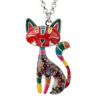 🚚 Happy Enamel Cat Necklace (Red)