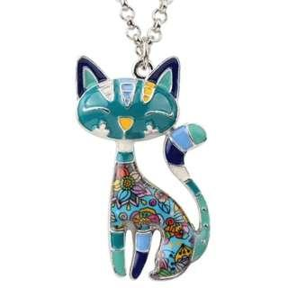 🚚 Happy Enamel Cat Necklace (Blue)