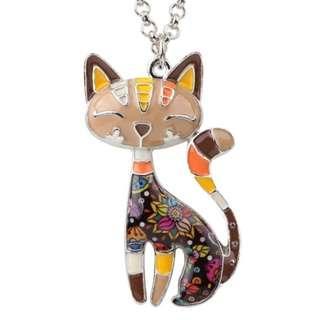 🚚 Happy Enamel Cat Necklace (Brown)