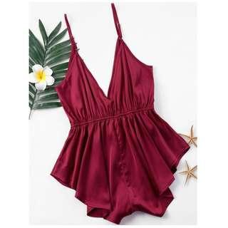 ZAFUL draped Satin Romper