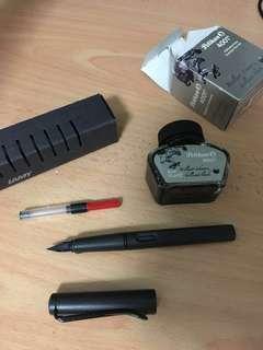Lamy Safari EF Fountain Pen + Pelican 4001 Black Ink
