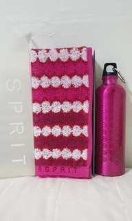 Esprit Pink Towel and Water Bottle Gift Set