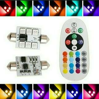 Brand New Top Quality 2 Pieces 31mm X12v Car/Van/Truck RGB Led Interior Light With Auto Remote Controller Colorful Led Lamp