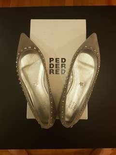 Pedder Red Grey Suede Leather Flats with Swarovski Crystals (EU38)