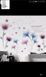 🎉New Arrival 2 in 1 Large Size Romantic Floral Applique Bedroom Living Room Sofa Wall Decoration Wall Sticker Self-adhesive