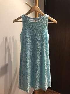 Floral lace light blue dress