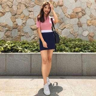 INSTOCKS Knitted colourblock bodycon short sleeve dress - pink blue