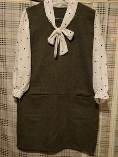 🚚 (免運費)毛料雪紡洋裝