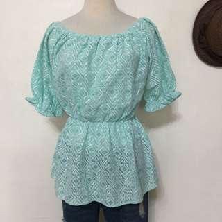 🚚 全新品,韓製!超可愛蕾絲織帶公主袖一字領娃娃上衣,藍,可兩穿