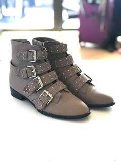 Stud zip up boots - stone colour