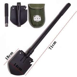 Survival Multiple Function Large Compact Foldable Spade / Gardening Trench Shovel 18 cm x 14 cm ( 71 cm Total Length ) ( Multifunction Army Military Style )