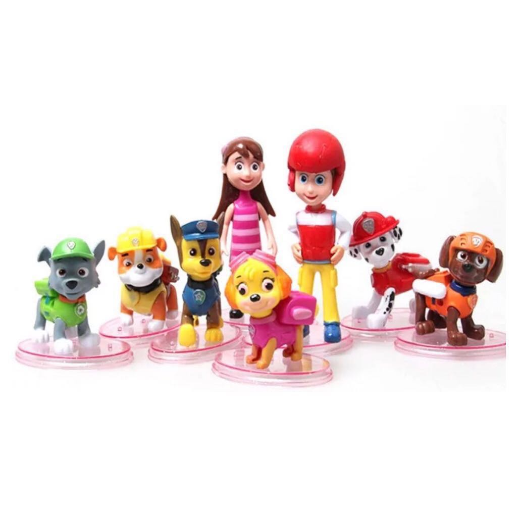 8 pcs Paw Patrol Ryder Cake Topper Figurine Toy Cupcake Decoration Toppers  Figure Birthday not Fondant