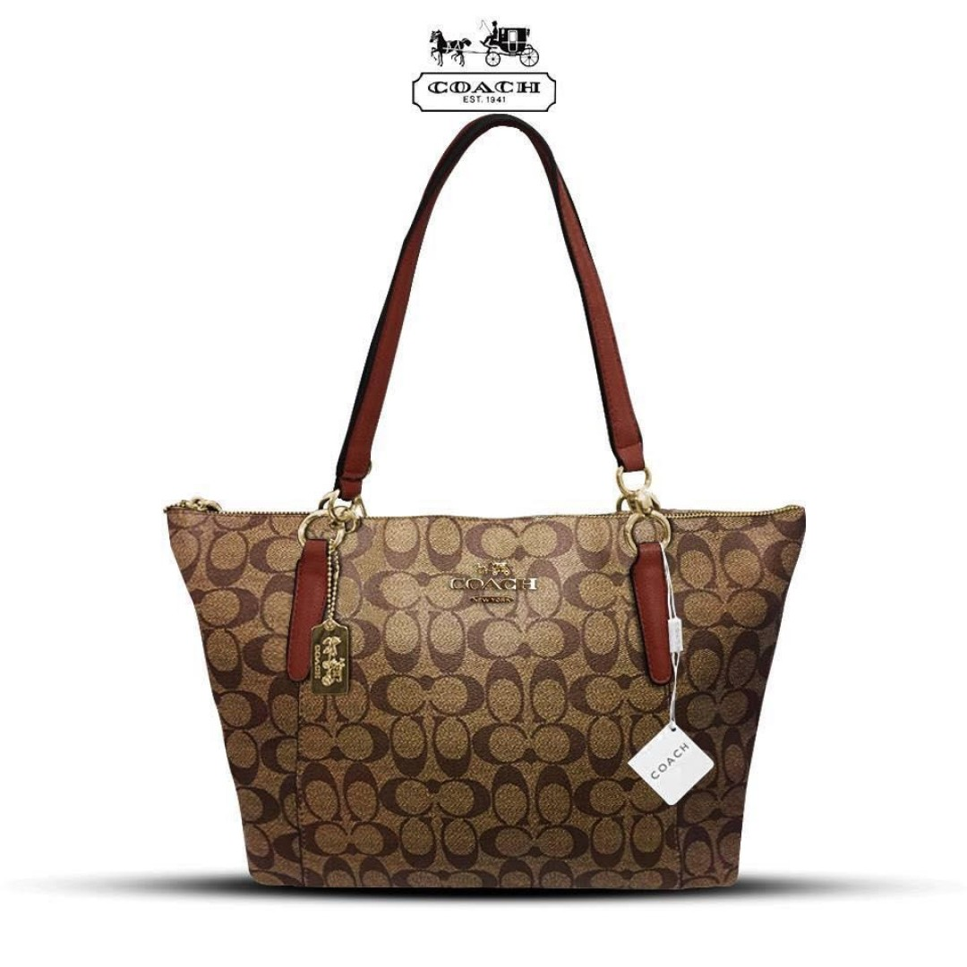 1d6beeb1028f28 Authentic Quality Coach Signature Logo Design Ava Zippered Tote Bag ...