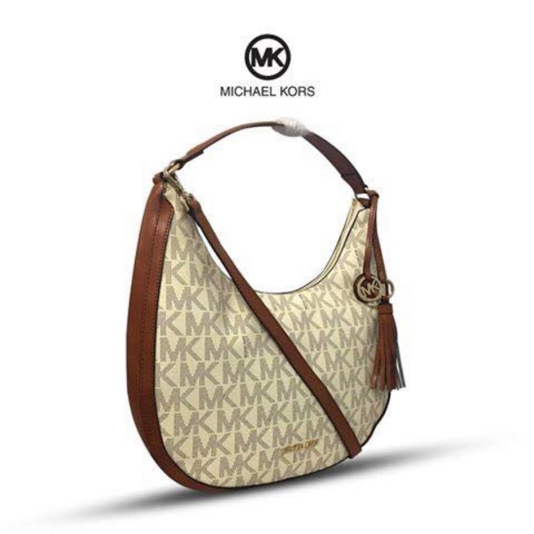 4ff9ebb8c8ae Authentic Quality MK Bag Michael Kors Lydia Logo Shoulder Bag Hobo ...