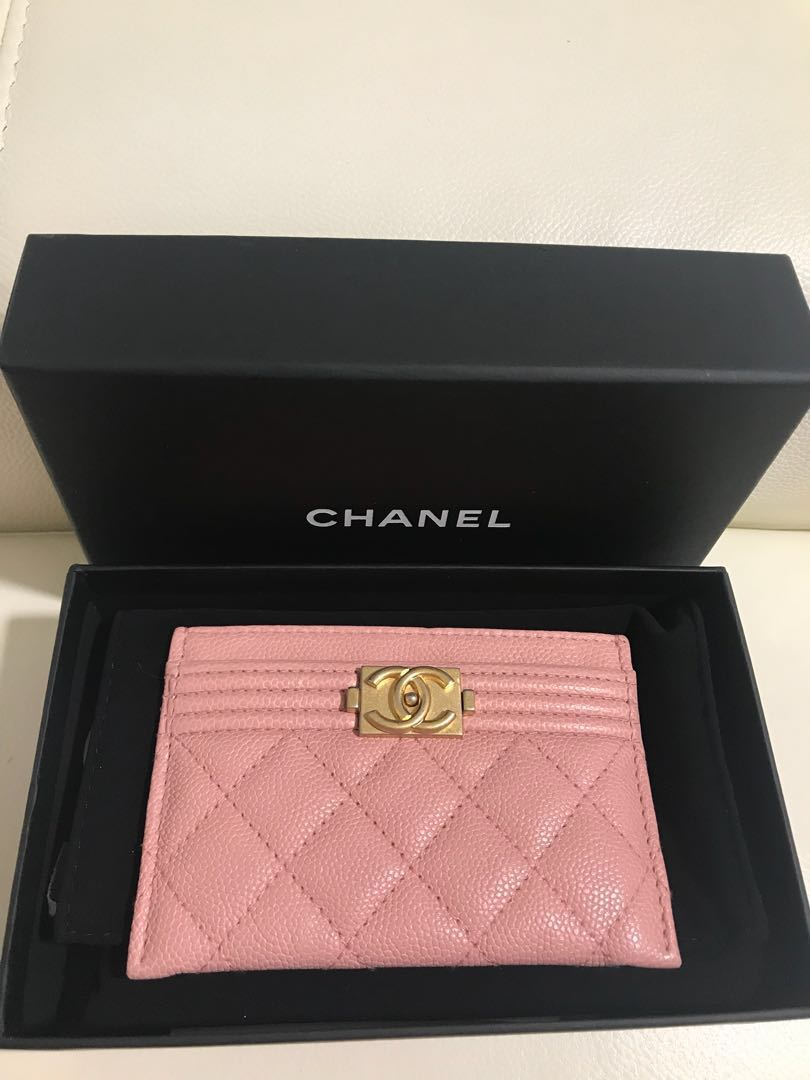 91993f7dac1d ***BN*** Chanel boy flat cardholder in baby pink, Luxury, Bags & Wallets,  Wallets on Carousell