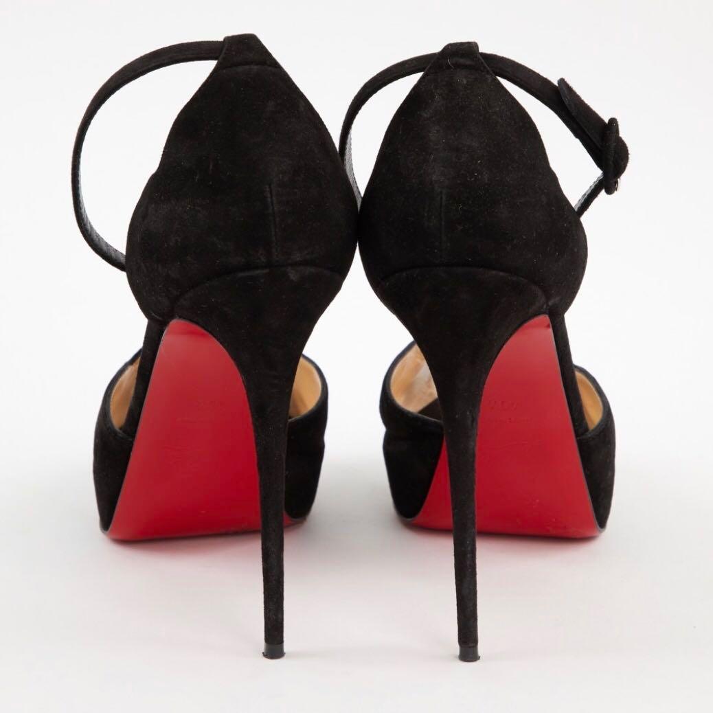 14a12dae3ecd Christian Louboutin Aketata 120 Black Suede Platform Sandals ...
