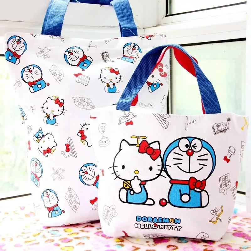 f48eebddc4 Hello Kitty Women Handbag Classic Cartoon Canvas Shopping Bags Pattern  Personalized Crossbody Bags For Women Clutch Bag